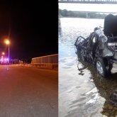 Автомобиль упал с моста в Иртыш в Семее