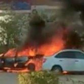 Легковой автомобиль взорвался в Актау