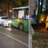 Автобус протаранил припаркованные автомобили в Алматы