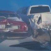 Сразу 15 автомобилей столкнулись в Акмолинской области
