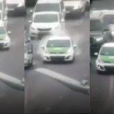 Выехавшее на встречку в центре Нур-Султана такси сняли на видео