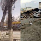 Сильный ветер сносил людей, крыши и деревья в Таразе
