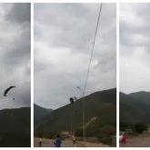 Парапланеристы влетели в линию электропередачи и рухнули на землю в Шамалгане