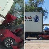 Зажало между грузовиками: видео страшного ДТП распространяется в Сети