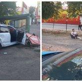 Автомобиль снес рекламный баннер и сбил пешехода в Уральске