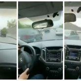 Автомобиль на большой скорости совершал опасные маневры на дорогах Алматы