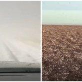 «Зима пришла?»: снег и град сняли на видео на трассе Балхаш – Актогай