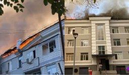 Сильный пожар охватил здание в центре Алматы