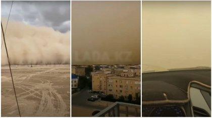 «Конец света»: страшными кадрами пыльной бури делятся жители Жанаозена