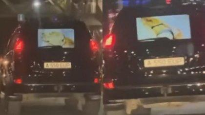 Мужчина за рулем джипа показывал водителям эротическое видео в Алматы